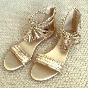 WHITE HOUSE BLACK MARKET- Gold Braided Sandals